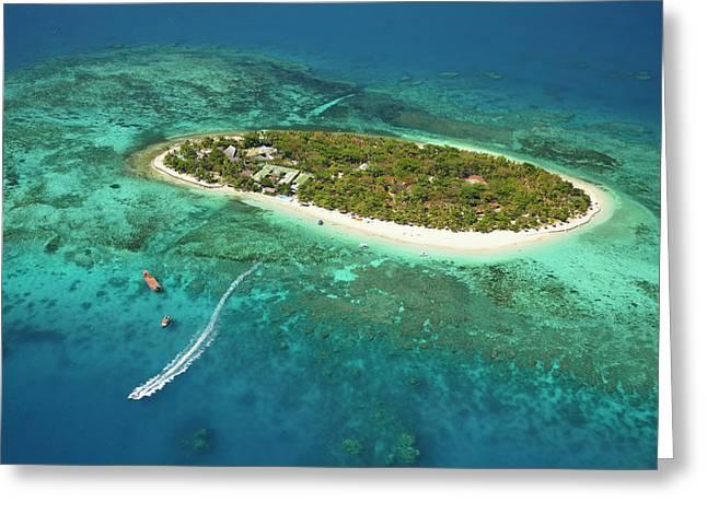 Treasure Island Resort And Boat Greeting Card