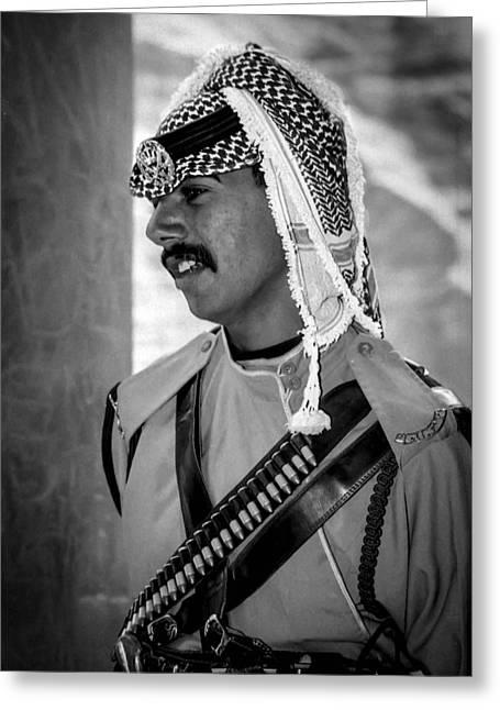 Treasury Guard At Petra Greeting Card by Paul Haist
