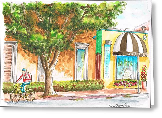 Tree And Cyclist In La Brea Ave - Hollywood - Ca Greeting Card