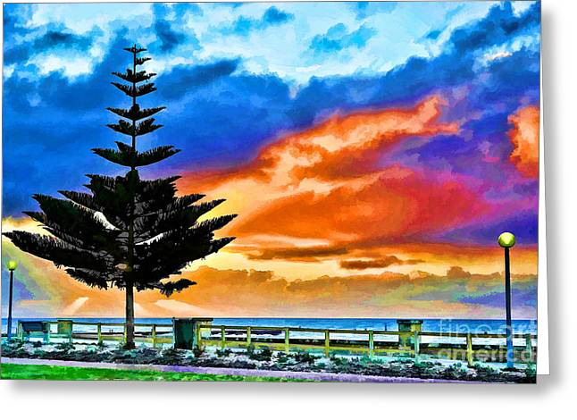 Tree And Sunset Greeting Card