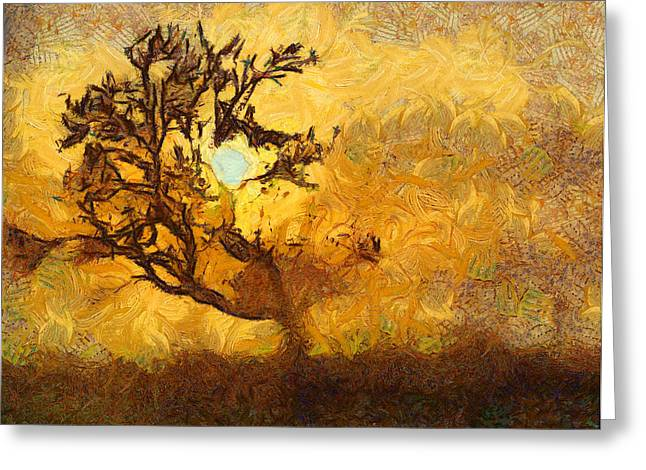 Tree At Sunset - Digital Painting In Van Gogh Style With Warm Orange And Brown Colors Greeting Card by Matthias Hauser