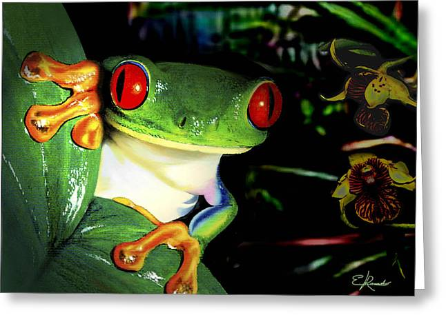 Tree Frog Greeting Card by Edwin Rosado