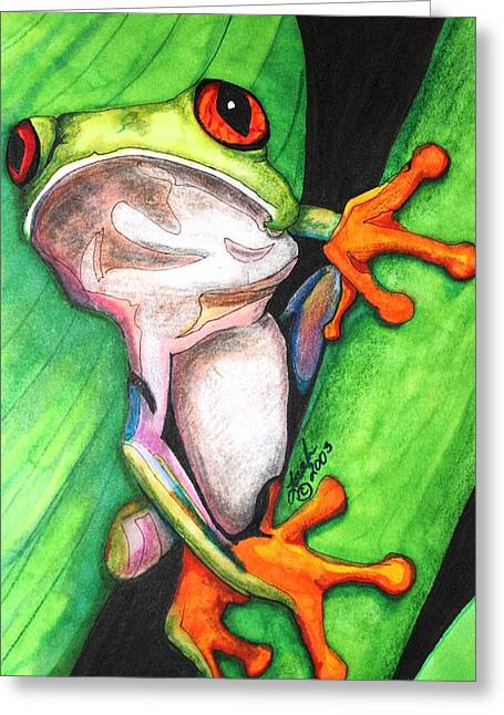 Tree Frog Greeting Card by Lorah Buchanan