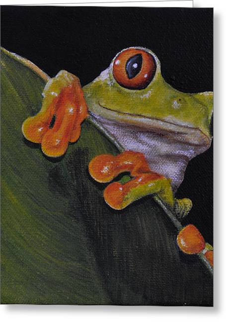 Tree Frog Peeking At You Greeting Card