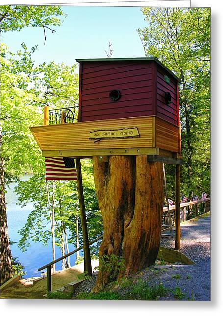 Greeting Card featuring the photograph Tree House Boat by Sherman Perry