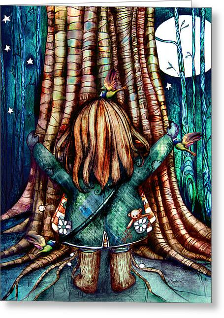 Tree Hugs Greeting Card by Karin Taylor