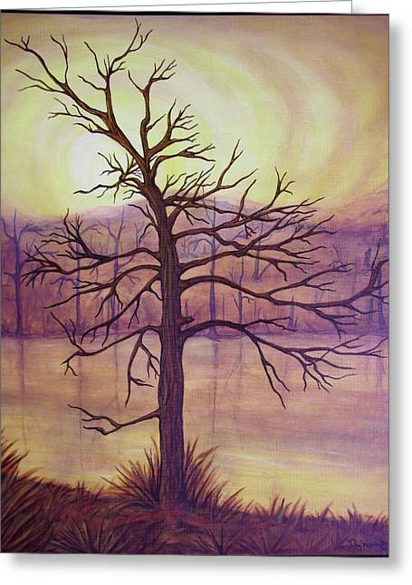 Tree In Gold Landscape Greeting Card by Jan Wendt