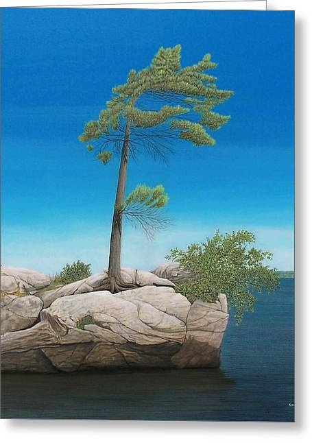 Tree In Rock Greeting Card by Kenneth M  Kirsch