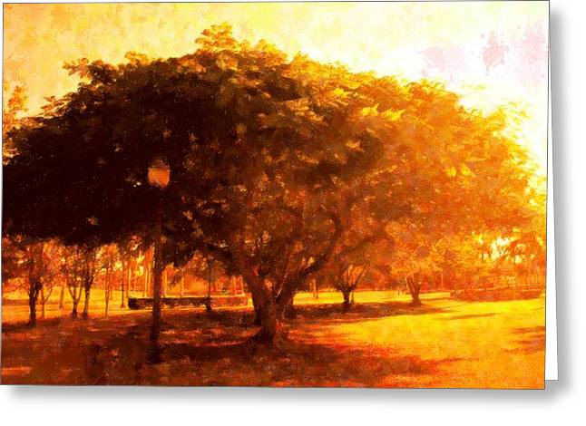 Tree In The Park Greeting Card by Florene Welebny