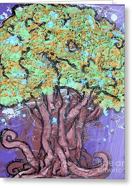 Tree In Three Dee Greeting Card by Genevieve Esson