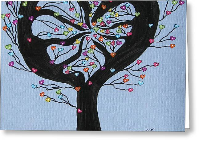 Tree Of Hearts Greeting Card by Marcia Weller-Wenbert