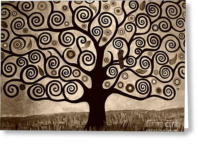Tree Of Life In Sepia Greeting Card by Samantha Black