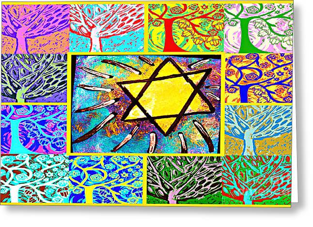-tree Of Life Star Greeting Card by Sandra Silberzweig