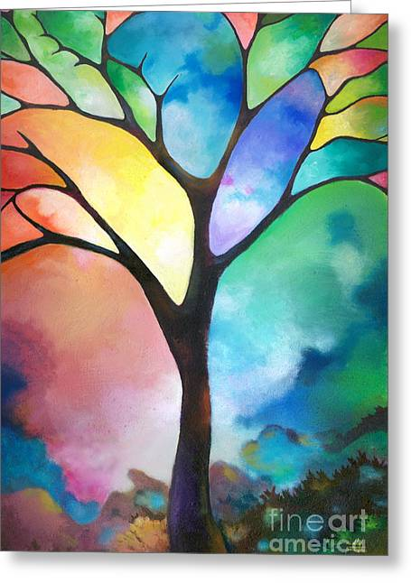 Original Art Abstract Art Acrylic Painting Tree Of Light By Sally Trace Fine Art Greeting Card