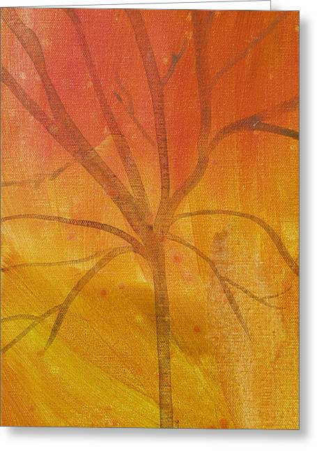 Greeting Card featuring the painting Tree Of Three Gold by Robin Maria Pedrero