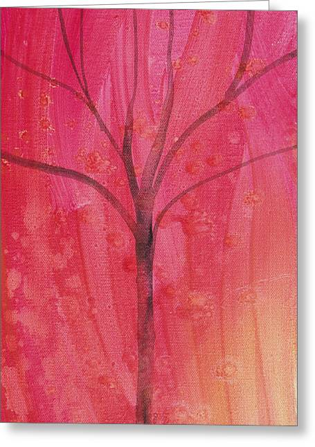 Greeting Card featuring the painting Tree Of Three Pink by Robin Maria Pedrero