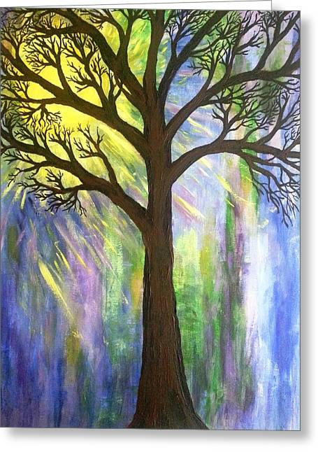 Tree On Blue  Greeting Card by Christine Chase