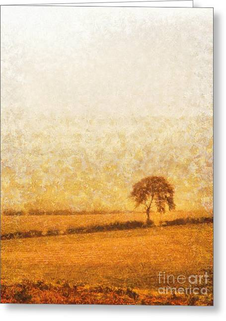 Tree On Hill At Dusk Greeting Card