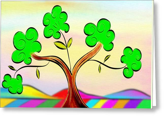 Tree On Rainbow Colored Landscape - Whimsical Artwork Greeting Card