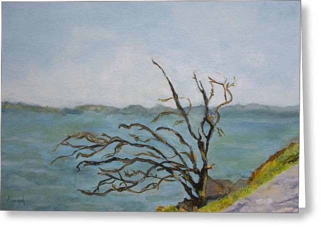 Greeting Card featuring the painting Tree On The Hudson River by Aleezah Selinger