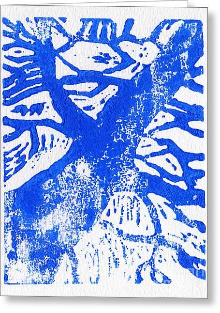 Tree Print Blue Greeting Card by Christina Rahm