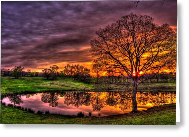 Sunrise Reflections Printed Upon A Farm Pond Greeting Card by Reid Callaway