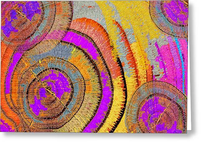 Tree Ring Abstract Horizontal Greeting Card by Tony Rubino