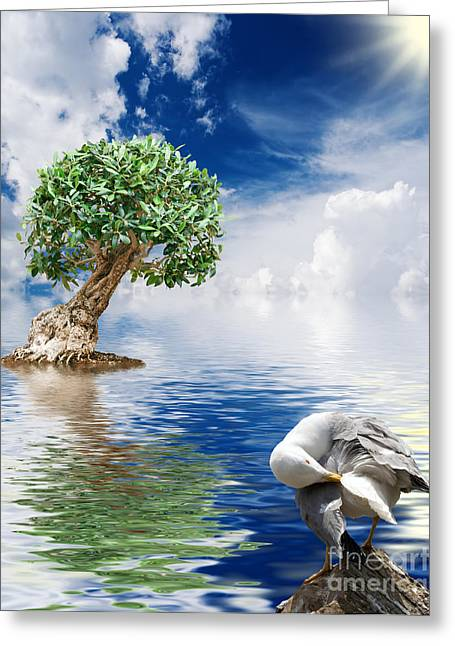 Tree Seagull And Sea Greeting Card by Antonio Scarpi
