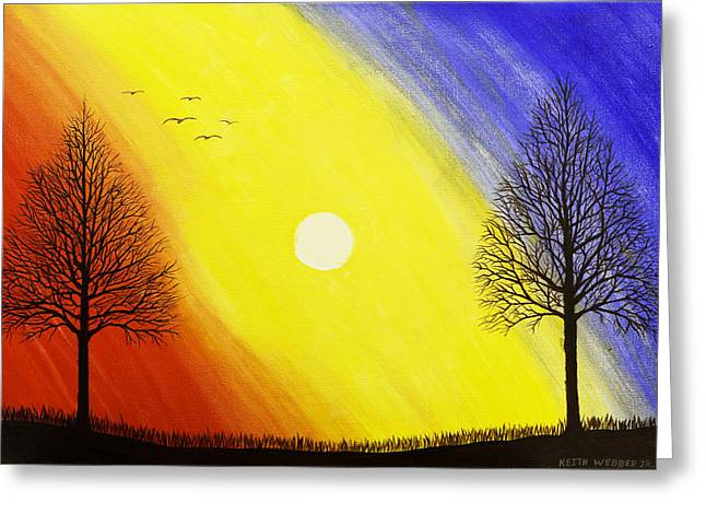 Tree Silhouette At Sunset Painting Greeting Card by Keith Webber Jr