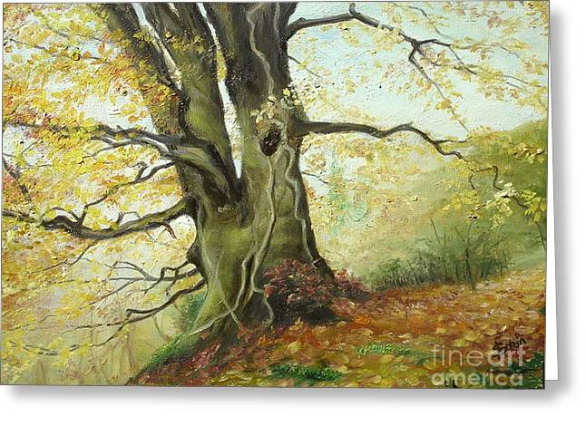 Greeting Card featuring the painting Tree by Sorin Apostolescu