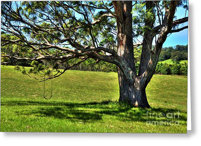 Tree With A Swing Greeting Card by Kaye Menner