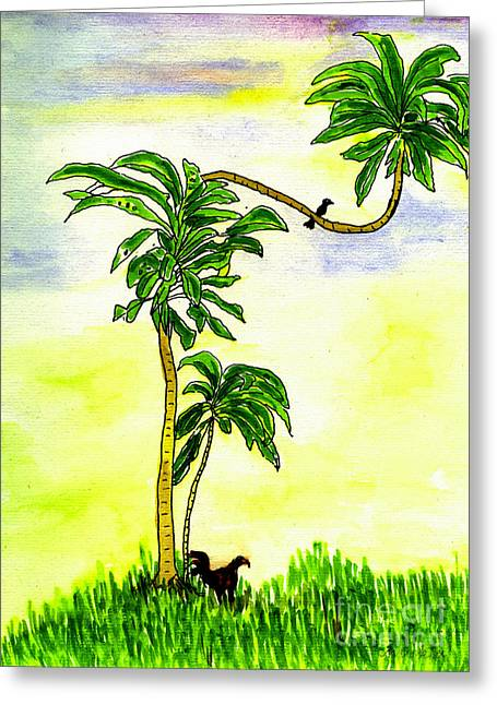 Greeting Card featuring the painting Tree With Birds by Mukta Gupta