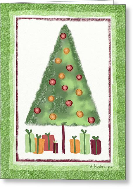 Greeting Card featuring the digital art Tree With Presents by Arline Wagner