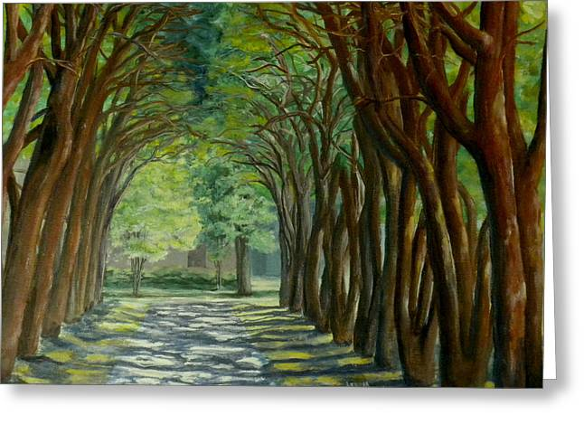 Greeting Card featuring the painting Treelined Walkway At Lsu In Shreveport Louisiana by Lenora  De Lude