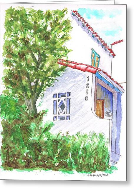 Trees And Colonial House Entrance In West Hollywood - California Greeting Card