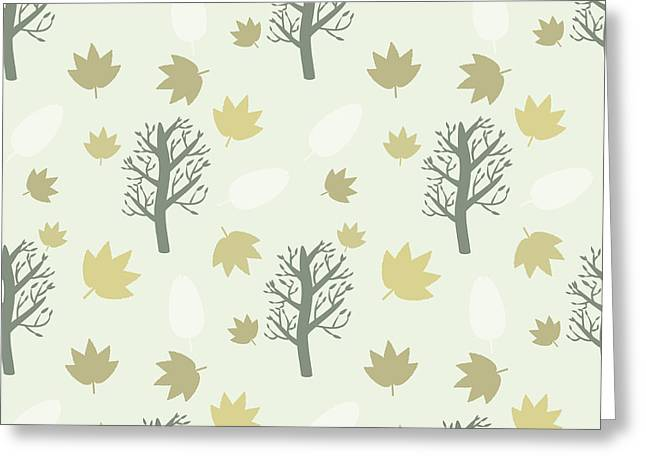 Trees And Leaves Background, Seamless Greeting Card