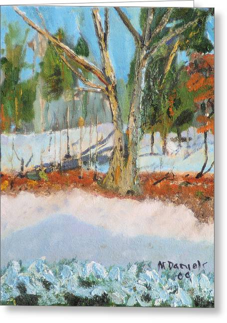 Trees And Snow Plein Air Greeting Card by Michael Daniels