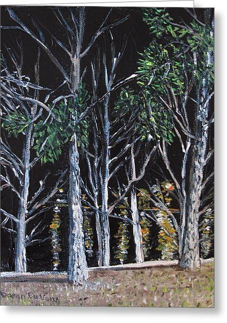 Trees At Night Greeting Card by Sharon  De Vore
