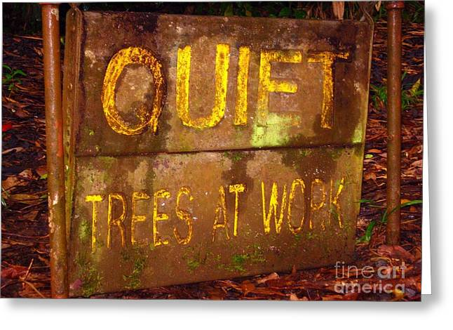Trees At Work Greeting Card by Christine Stack