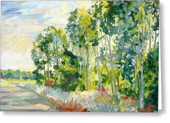 Trees By A Road Greeting Card