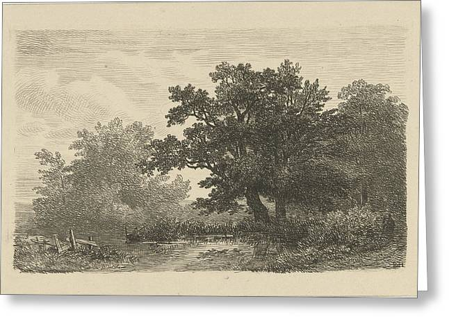 Trees In A Puddle, Print Maker Remigius Adrianus Haanen Greeting Card by Artokoloro