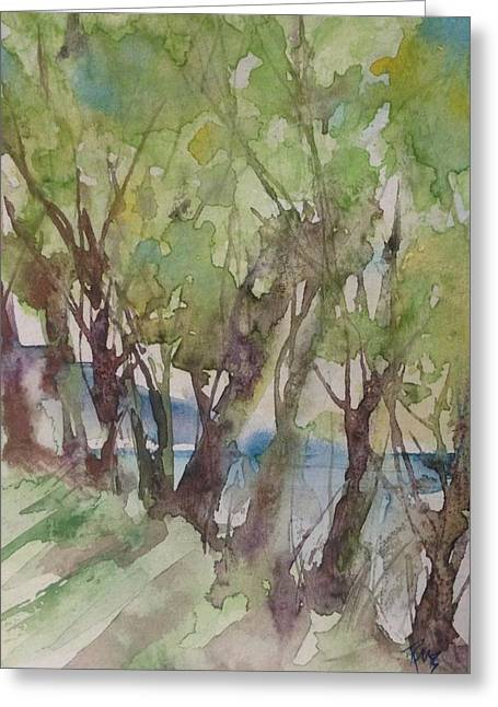 Trees In A Row Greeting Card by Robin Miller-Bookhout