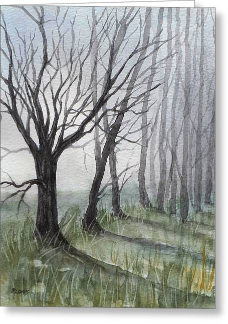 Trees In Fog Greeting Card by Rebecca Davis