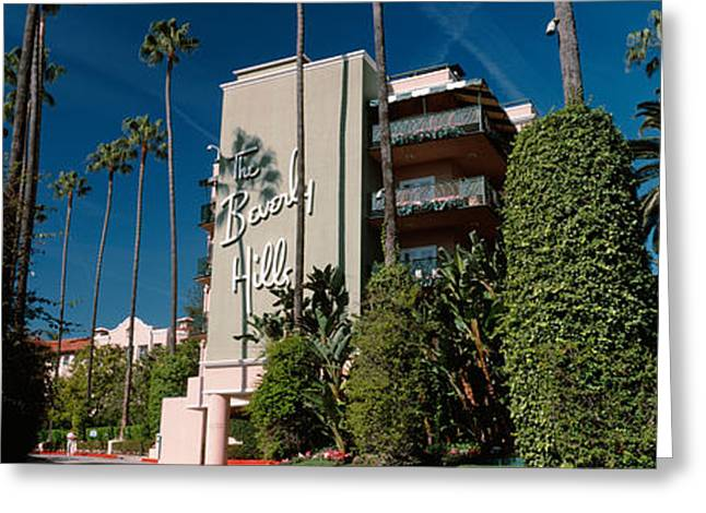 Trees In Front Of A Hotel, Beverly Greeting Card by Panoramic Images