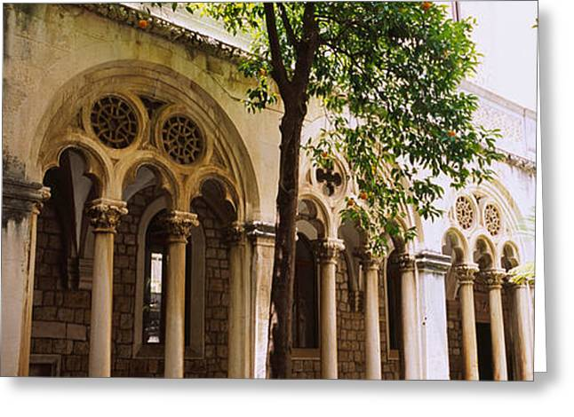 Trees In Front Of A Monastery Greeting Card by Panoramic Images