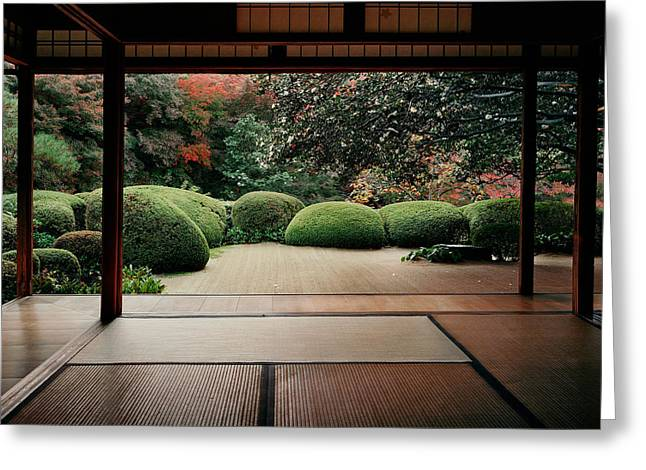 Trees In Front Of A Temple, Shisendo Greeting Card by Panoramic Images
