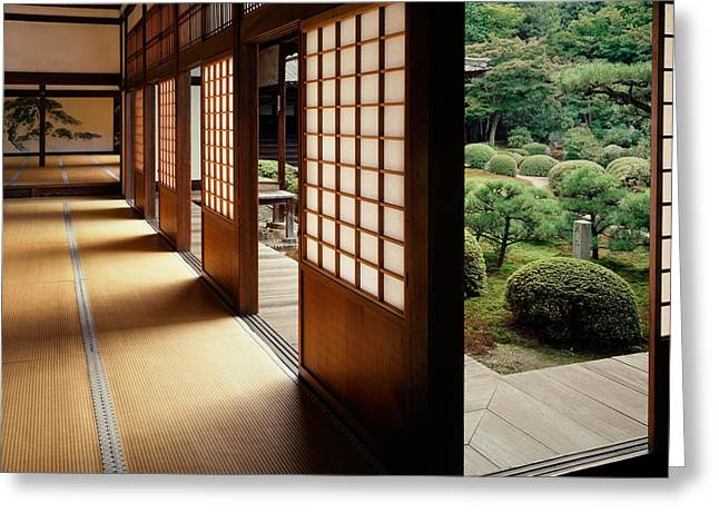 Trees In Front Of A Temple, Zuishin Greeting Card by Panoramic Images