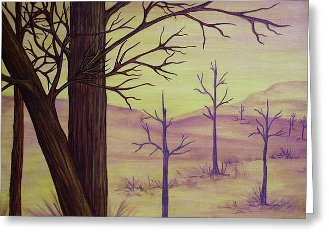 Trees In Gold Landscape Greeting Card by Jan Wendt