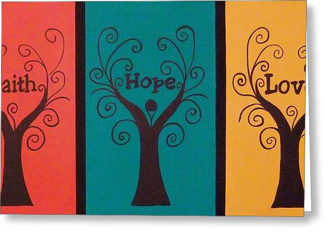Trees Of Faith Hope Love Triptic Greeting Card by Cindy Micklos
