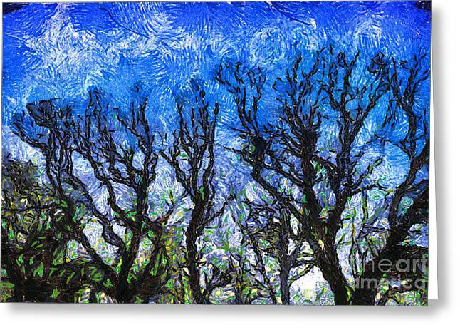 Trees On Blue Night Sky Digital Painting Artwork Greeting Card by Amy Cicconi